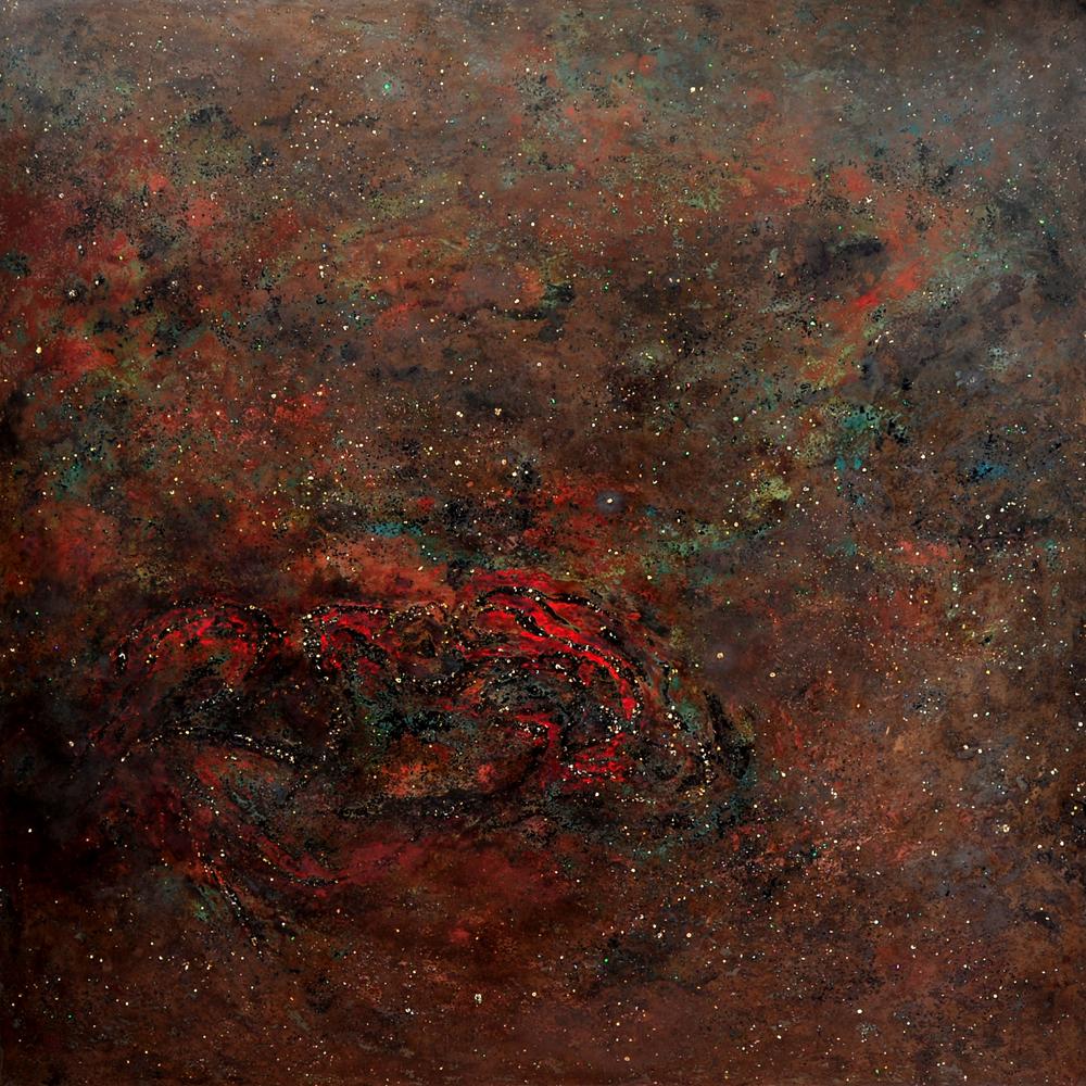 PARTICLES / No35. Natural lacquer. 120x120cm. 2018